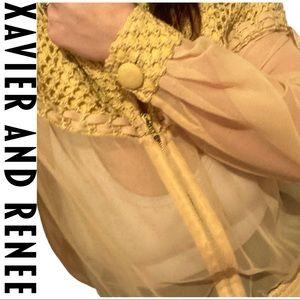 VTG Xavier and Reneé Sheer Yellow Bomber Jacket
